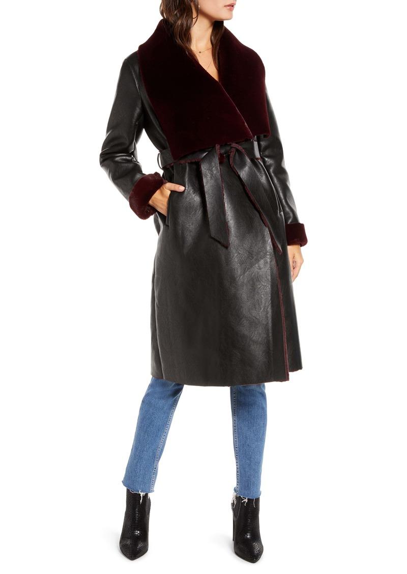 BLANKNYC Faux Shearling Belted Coat