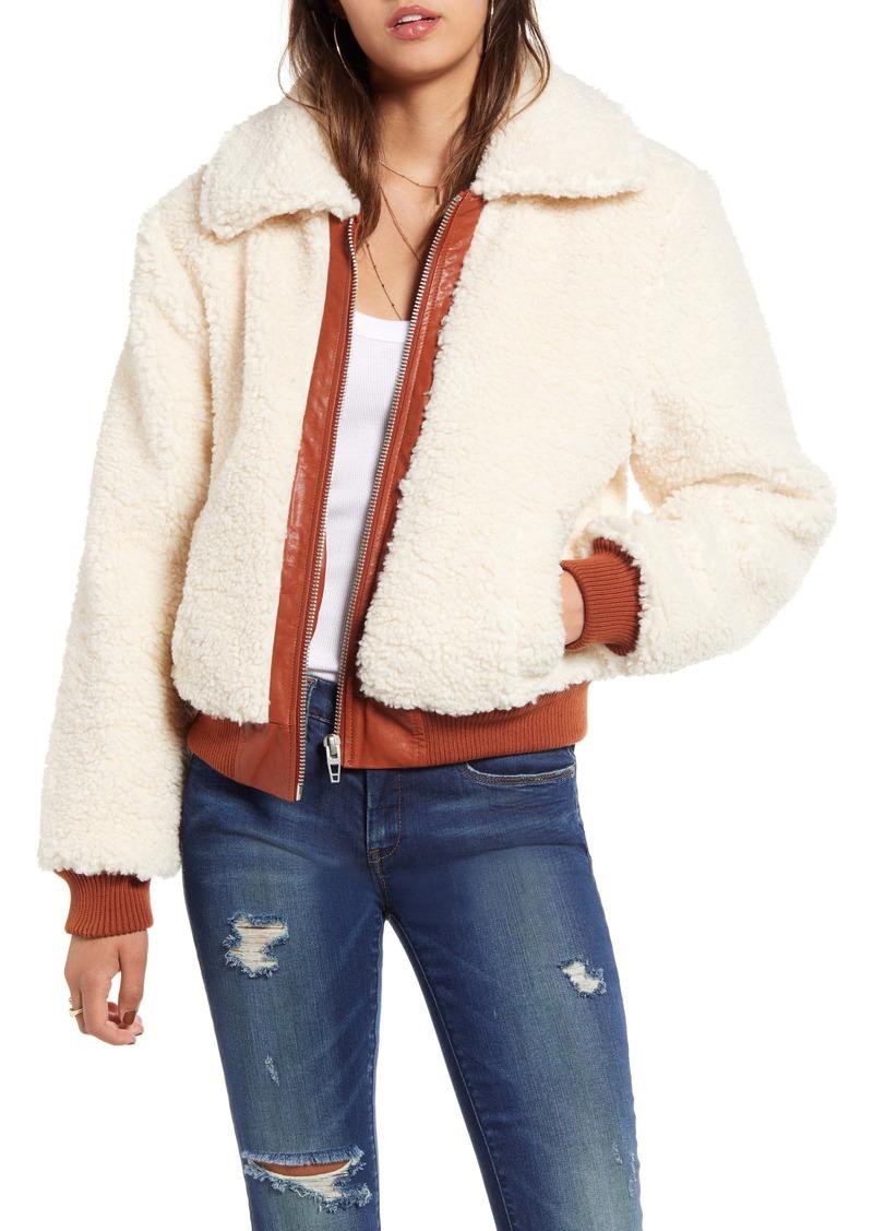 BLANKNYC Faux Shearling Crop Jacket