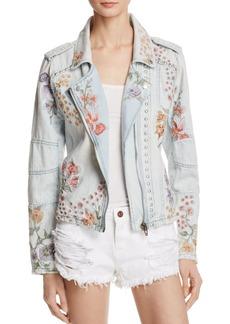 BLANKNYC Floral Embroidered Denim Moto Jacket