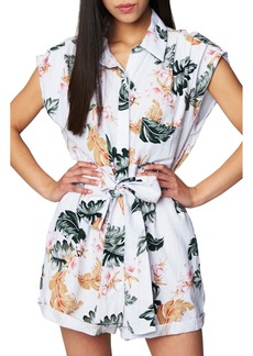 BLANKNYC Floral Print Linen Blend Romper