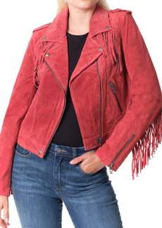 BLANKNYC Fringe Trim Suede Moto Jacket