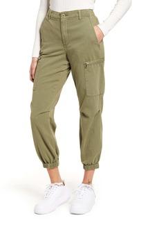 BLANKNYC High Waist Garment Dyed Twill Cargo Jogger Pants