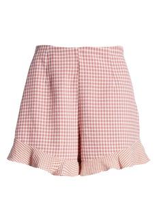 BLANKNYC Gingham Ruffle Hem Shorts