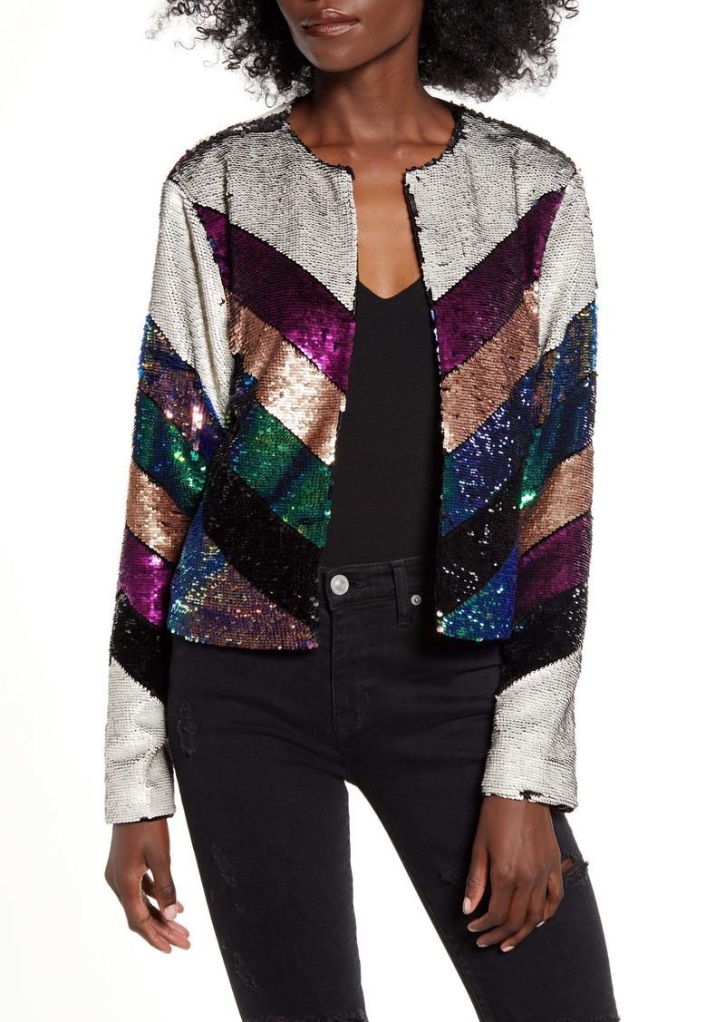 BLANKNYC Guest List Sequin Colorblock Jacket