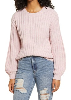 BLANKNYC Heather Ribbed Crewneck Sweater