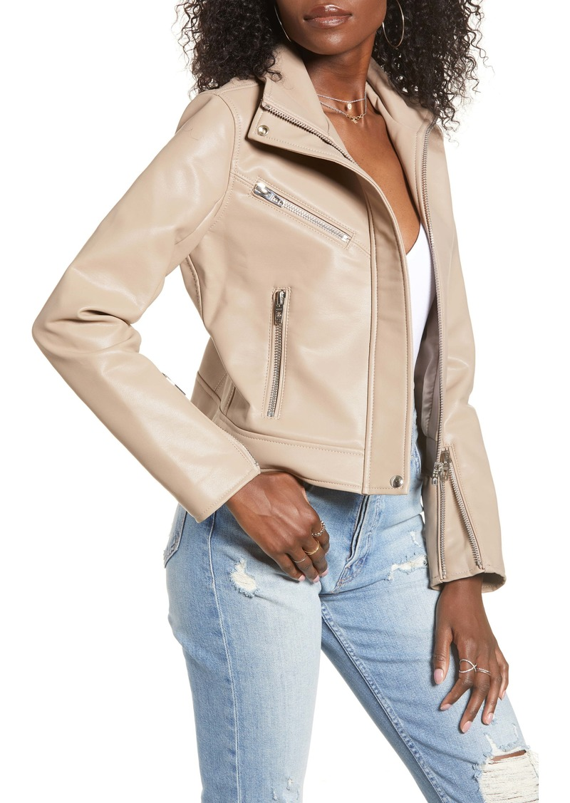BLANKNYC High Collar Faux Leather Moto Jacket