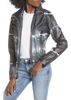 BLANKNYC High Collar Tie Dye Faux Leather Moto Jacket