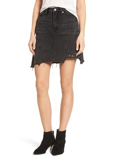 BLANKNYC High Rise Asymmetrical Denim Miniskirt