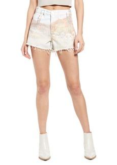 BLANKNYC High Waist Photo Print Denim Shorts (Desert Bloom)