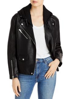 BLANKNYC Hooded Faux Leather Moto Jacket