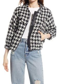 BLANKNYC Houndstooth Tweed Bomber Jacket