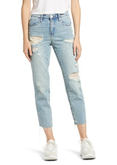 BLANKNYC Imitation Pearl Ripped High Waist Raw Hem Crop Jeans (Love Letter)