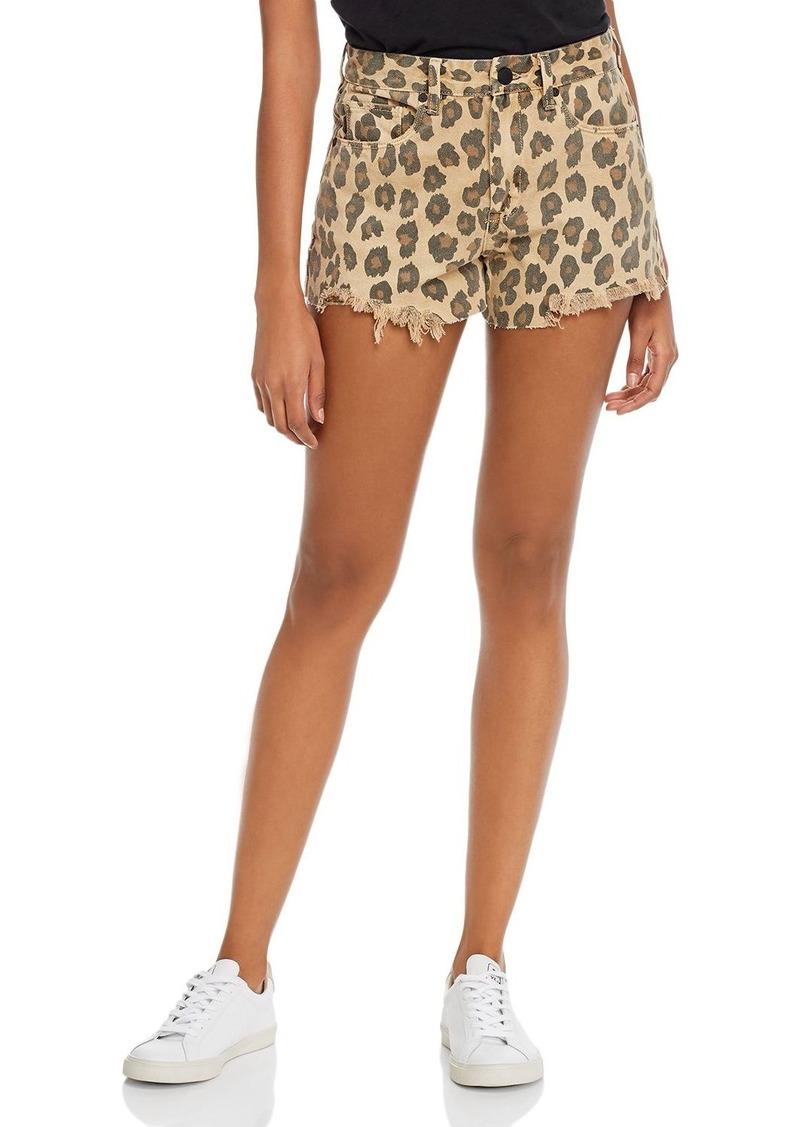 BLANKNYC Leopard Print Denim Shorts in Stubborn