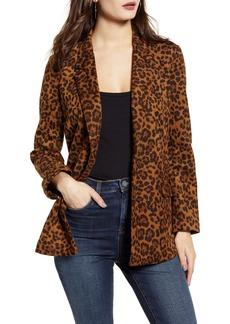 BLANKNYC Leopard Print Faux Suede Blazer