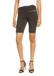 BLANKNYC Leopard Print Side Zip Ponte Bike Shorts
