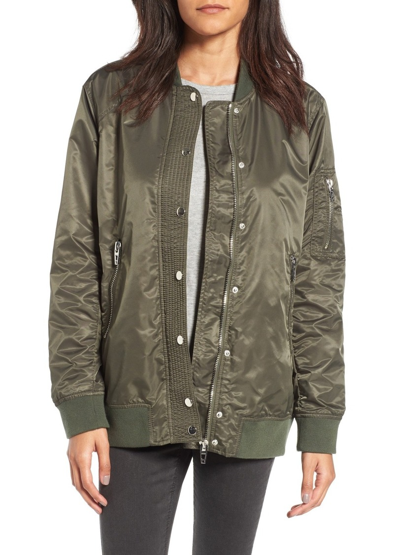 BLANKNYC Long Nylon Bomber Jacket