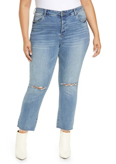 BLANKNYC Madison Distressed Straight Leg Ankle Jeans (Saw You There) (Plus Size)