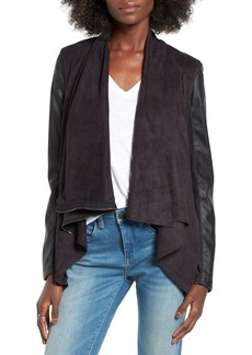 BLANKNYC Mixed Media Faux Leather Drape Front Jacket