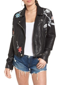 BLANKNYC Painted Faux Leather Moto Jacket