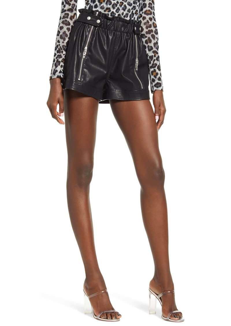 BLANKNYC Paperbag Waist Faux Leather Shorts