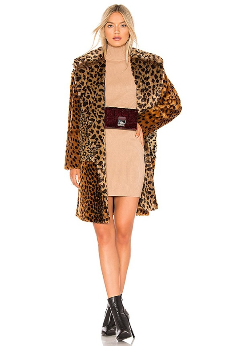 BLANKNYC Patchwork Faux Fur Coat