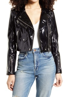 BLANKNYC Patent Leather Crop Moto Jacket