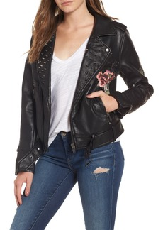 BLANKNYC Printed Faux Leather Moto Jacket