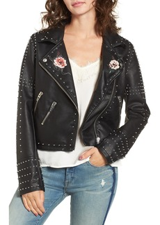BLANKNYC Printed Studded Moto Jacket