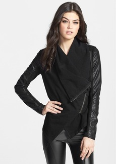BLANKNYC 'Private Practice' Mixed Media Drape Front Jacket