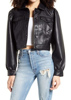BLANKNYC Puff Sleeve Faux Leather Crop Jacket
