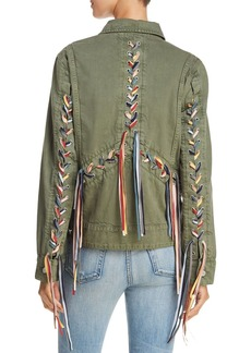 BLANKNYC Rainbow Lace-Up Denim Jacket