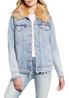 BLANKNYC Removable Faux Fur Collar Denim Trucker Jacket