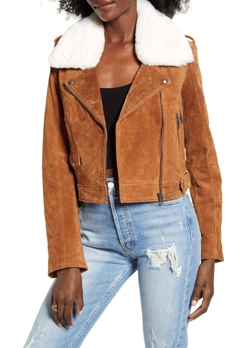 BLANKNYC Removable Faux Fur Collar Suede Moto Jacket