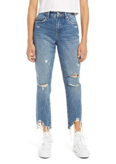 BLANKNYC Ripped Shark Bite Hem Ankle Mom Jeans (Good Vibrations)