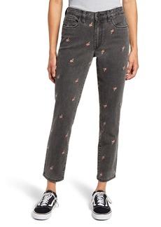 BLANKNYC Rosebud Embroidered High Waist Crop Slim Jeans (Can't Handle)