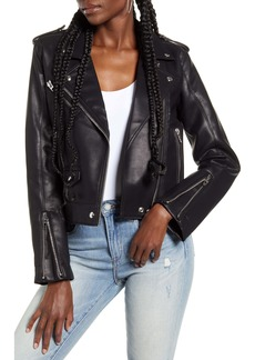 BLANKNYC Semi-Fitted Faux Leather Moto Jacket