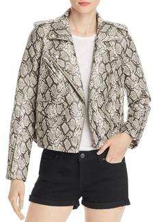 BLANKNYC Snake Print Faux-Leather Moto Jacket