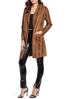 BLANKNYC Snake Print Long Faux Leather Coat