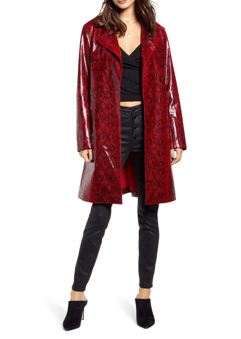 BLANKNYC Snakeskin Faux Leather Trench Coat