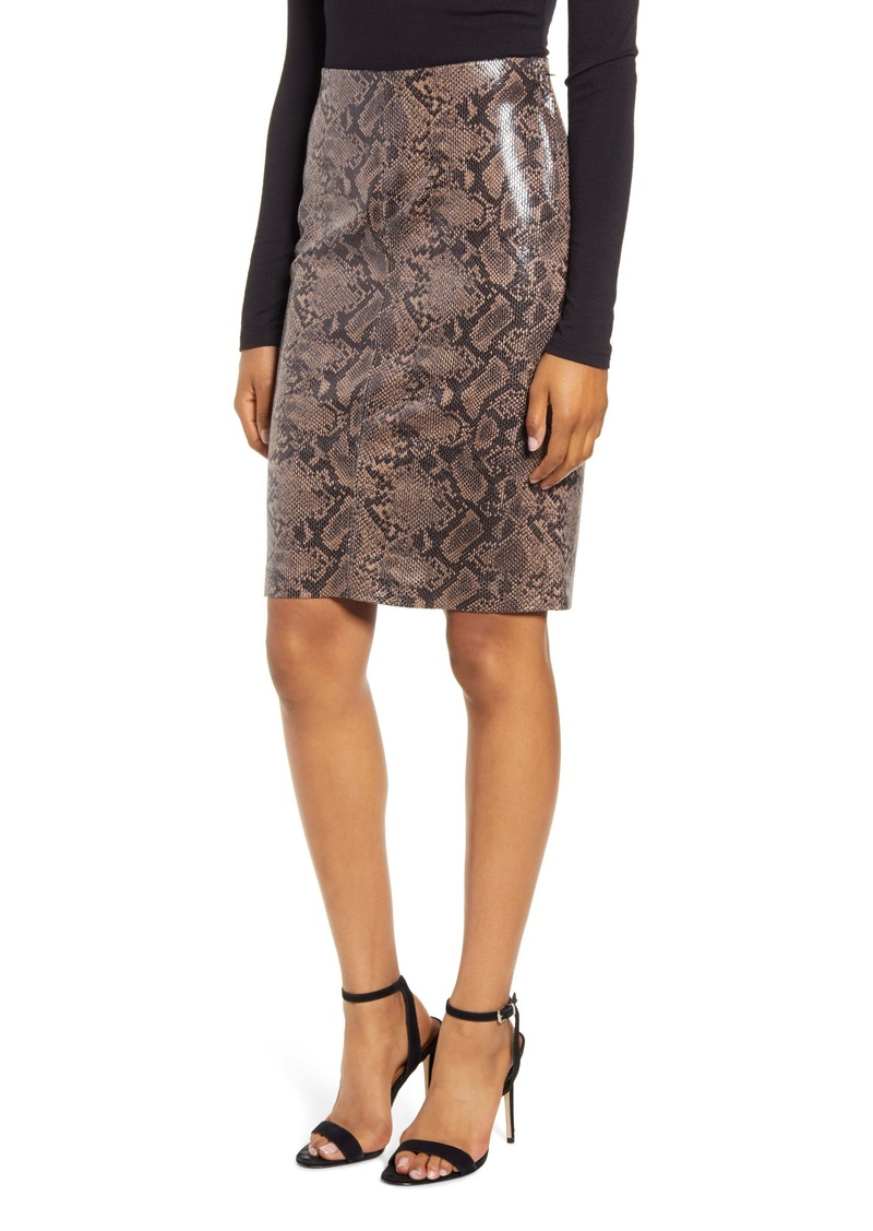 BLANKNYC Snakeskin Print Pencil Skirt
