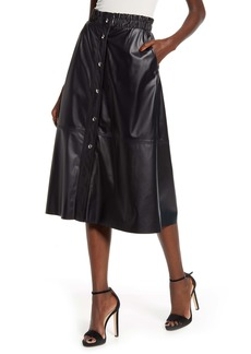 BLANKNYC Snap Front Faux Leather Midi Skirt