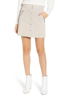 BLANKNYC Snap Front Suede Miniskirt