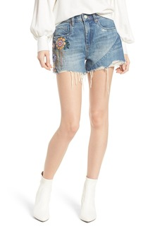 BLANKNYC Sonic Bloom Embroidered Denim Shorts