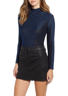 BLANKNYC Star Woman Shimmer Mock Neck Bodysuit