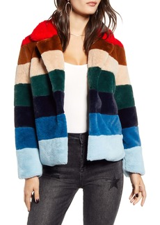 BLANKNYC Stripe Faux Fur Jacket