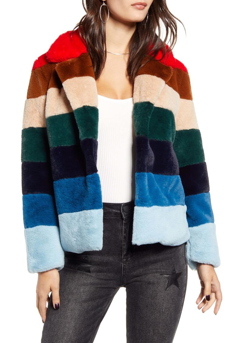 BLANKNYC Stripe Faux Fur Jacket