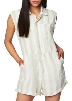 BLANKNYC Stripe Sleeveless Linen Romper