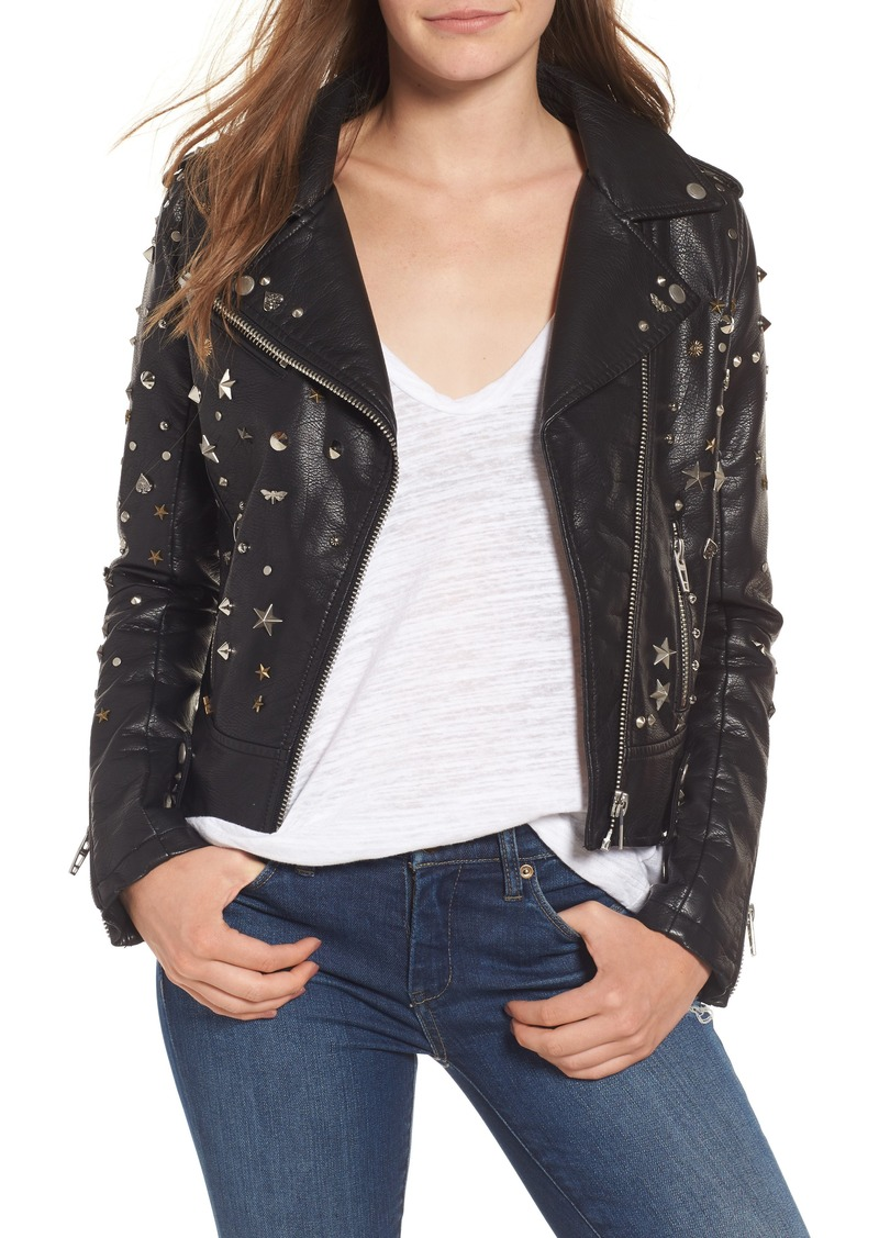 BLANKNYC Studded Faux Leather Moto Jacket