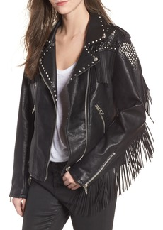 BLANKNYC Studded Fringe Faux Leather Moto Jacket