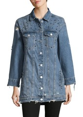 BLANKNYC Studded Oversized Cotton Denim Button-Down Top